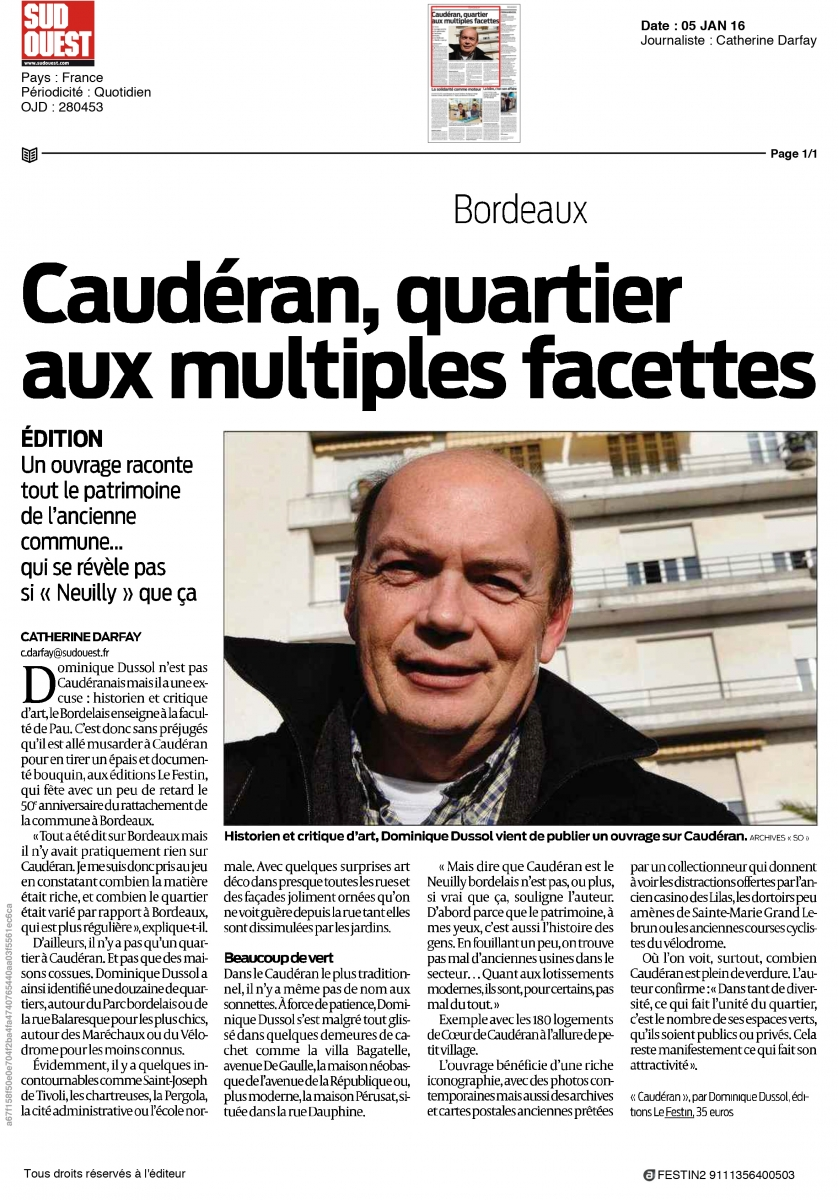 Catherine Darfay pour Sud Ouest - 5 janvier 2016
